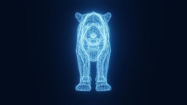 Ilustracja niebieskiego neonu świecącego tygrysa z trójwymiarowej siatki. renderowania 3d.