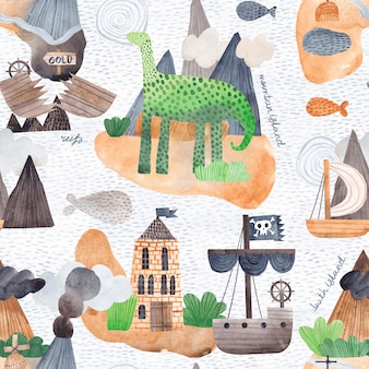 Ilustracja oceanu z wyspami, falami i statkami pirackimi. kreatywna tekstura do tkanin, opakowań, tekstyliów, tapet, odzieży. akwarela bezszwowe wzór.