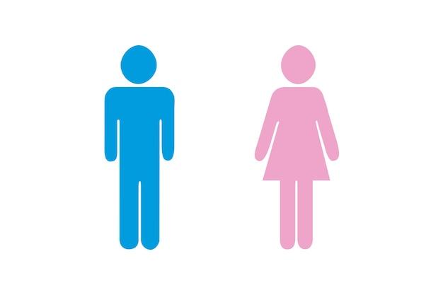 Ilustracja pary w kolorze niebieskim i różowym na białym tle