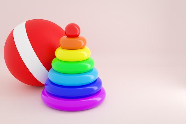 Ilustracja piramidy sortownika dla dzieci plastikowych zabawek z kolorowych części w kształcie koła