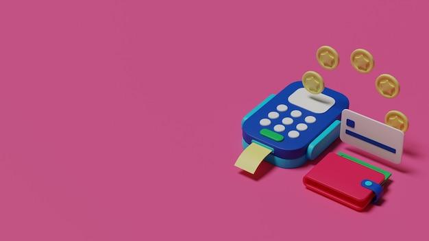 Ilustracja płatności przelewem pieniędzy renderowania 3d