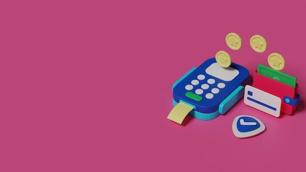 Ilustracja Płatności Przelewem Pieniędzy Renderowania 3d Premium Zdjęcia