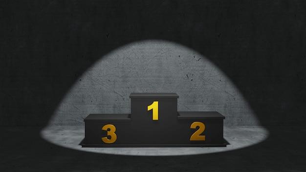 Ilustracja podium zwycięzców, renderowanie 3d