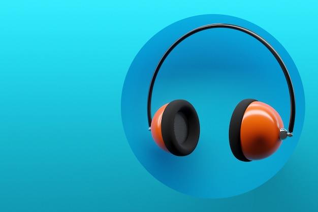 Ilustracja pomarańczowe słuchawki retro na niebiesko na białym tle