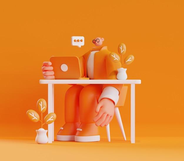 Ilustracja postaci 3d przedstawiająca mężczyznę siedzącego i rozmawiającego online, trzymającego laptopa na biurku