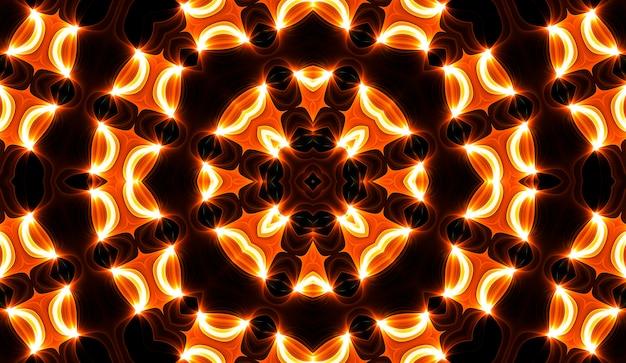 Ilustracja przedstawiająca jasny fraktalny kalejdoskop flar i słońca ze spiralami