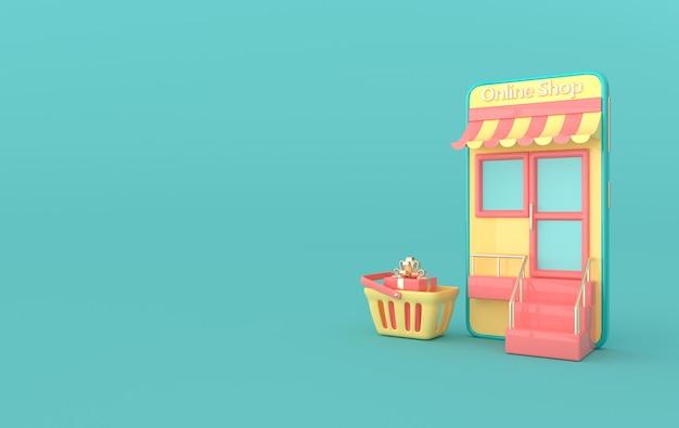 Ilustracja przedstawiająca koszyk na zakupy w pudełku na smartfona render
