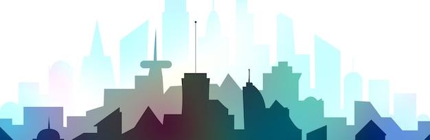 Ilustracja przedstawiająca sylwetkę kolorowej metropolii, miejski krajobraz w płaskim stylu