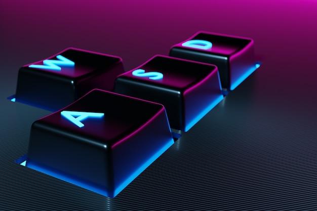 Ilustracja przyciski klawiatury wasd z neonowym różowym i niebieskim światłem na czarnym tle.
