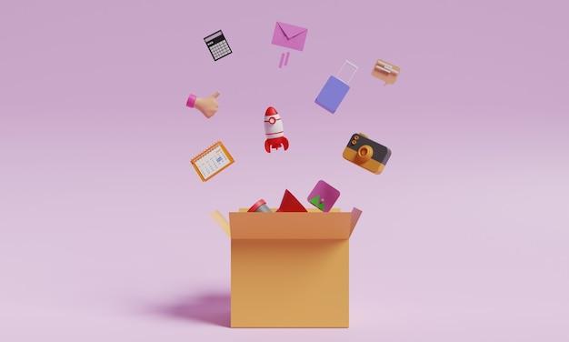 Ilustracja pudełkowa projekt 3d media społecznościowe koncepcja biznesowa