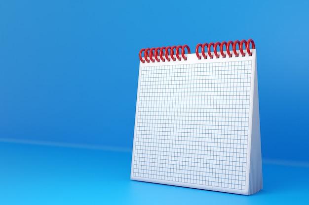 Ilustracja puste biurko kalendarza looseleaf notebook na niebieskim stole