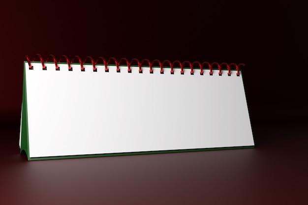 Ilustracja puste biurko kalendarza luźny notatnik na monochromatycznym zielonym tle