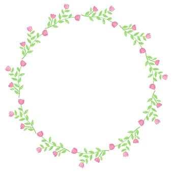 Ilustracja rama wieniec kwiatów akwarela
