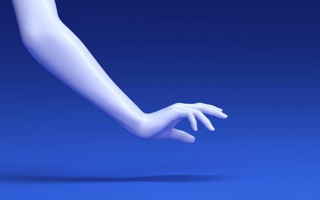 Ilustracja renderowania 3d dłoni kobieta dotyka podłogi w studio niebieski. części ludzkiego ciała.