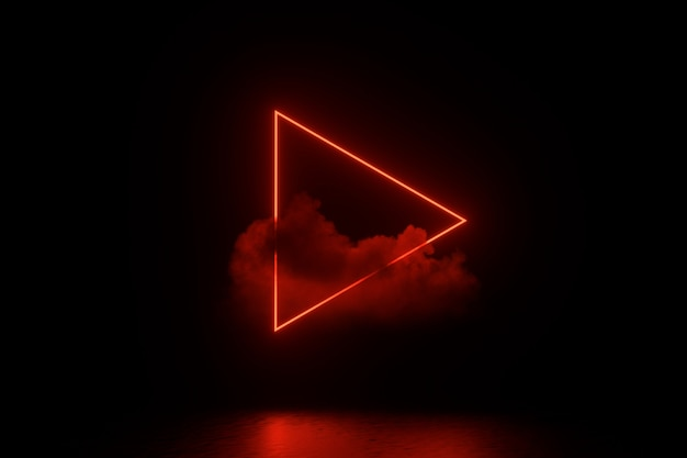 Ilustracja renderowania 3d. futurystyczny sci fi ciemny pusty pokój ze świecącymi neonami.