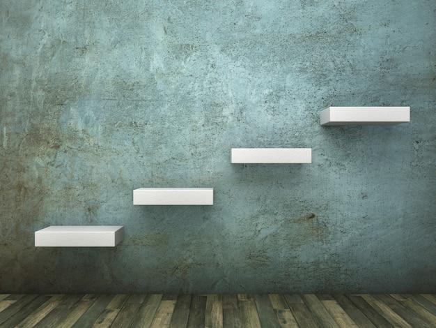 Ilustracja renderowania 3d kroków na ścianie betonowej