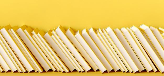 Ilustracja renderowania 3d książek przechylonych na żółtej półce