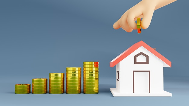Ilustracja renderowania 3d. oszczędność pieniędzy na zakup domu. koncepcja inwestycji w nieruchomości.