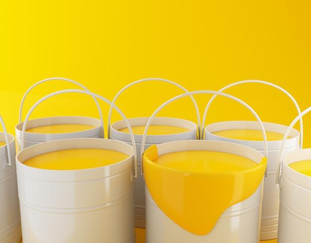 Ilustracja renderowania 3d. pełne wiadra z farbą na żółtym tle.