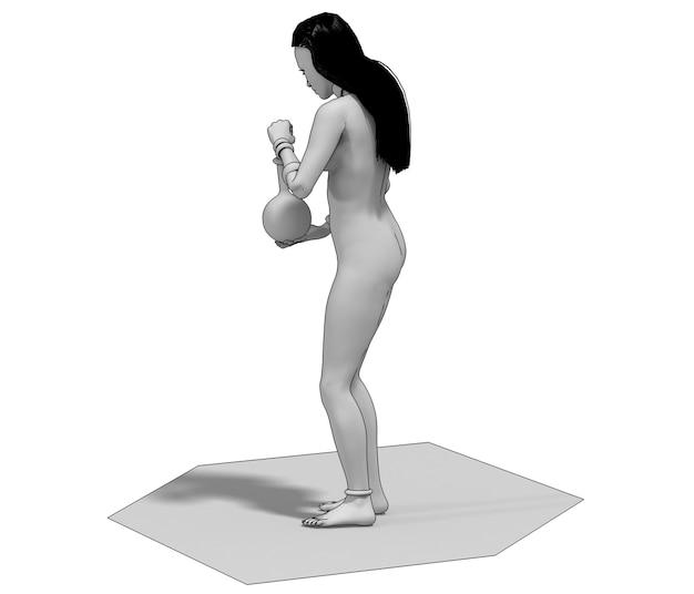 Ilustracja renderowania 3d postaci kobiety