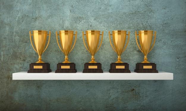 Ilustracja renderowania 3d trofeów