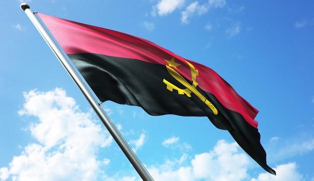 Ilustracja renderowania 3d w wysokiej rozdzielczości flagi angoli na tle błękitnego nieba
