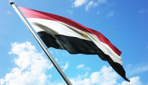 Ilustracja renderowania 3d w wysokiej rozdzielczości flagi egiptu na tle błękitnego nieba