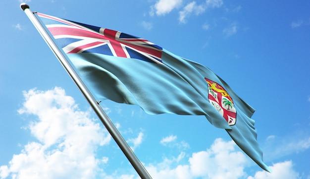 Ilustracja renderowania 3d w wysokiej rozdzielczości flagi fidżi na tle błękitnego nieba