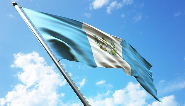 Ilustracja renderowania 3d w wysokiej rozdzielczości flagi gwatemali na tle błękitnego nieba