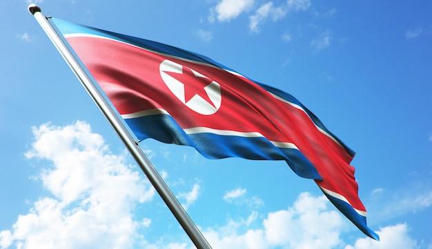 Ilustracja renderowania 3d w wysokiej rozdzielczości flagi korei północnej na tle błękitnego nieba