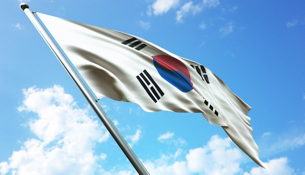 Ilustracja renderowania 3d w wysokiej rozdzielczości flagi korei południowej na tle błękitnego nieba
