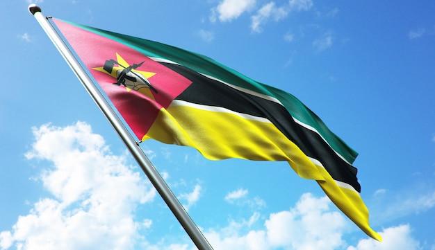 Ilustracja renderowania 3d w wysokiej rozdzielczości flagi mozambiku na tle błękitnego nieba
