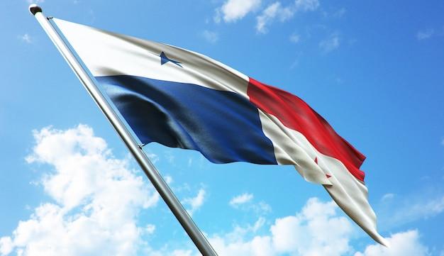 Ilustracja renderowania 3d w wysokiej rozdzielczości flagi panamy na tle błękitnego nieba