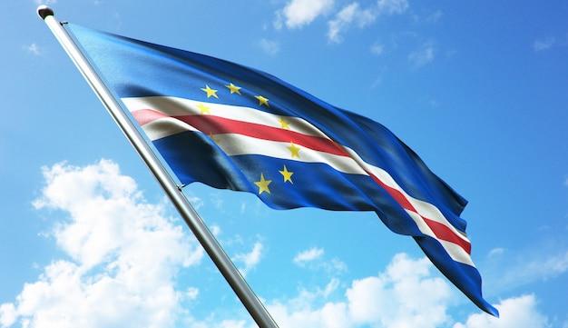 Ilustracja renderowania 3d w wysokiej rozdzielczości flagi republiki zielonego przylądka na tle błękitnego nieba