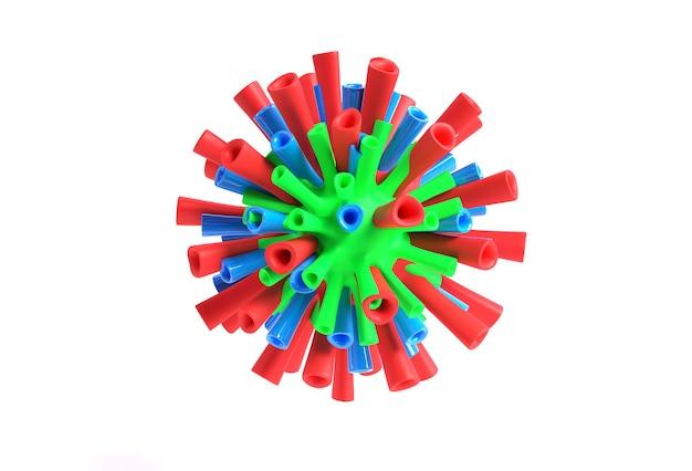 Ilustracja renderowania 3d wirus korony grypy unoszący się w widoku mikroskopowym płynu projekt.
