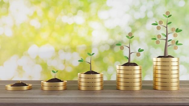 Ilustracja renderowania 3d. zasadzić monetę pieniędzy na stosie monet. koncepcja biznesowa finanse i pieniądze.