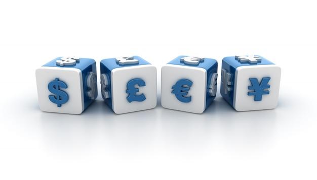 Ilustracja renderowania bloków kafelkowych z symbolami waluty