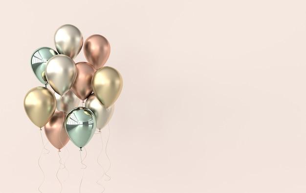 Ilustracja renderowania błyszczących zielonych i złotych balonów