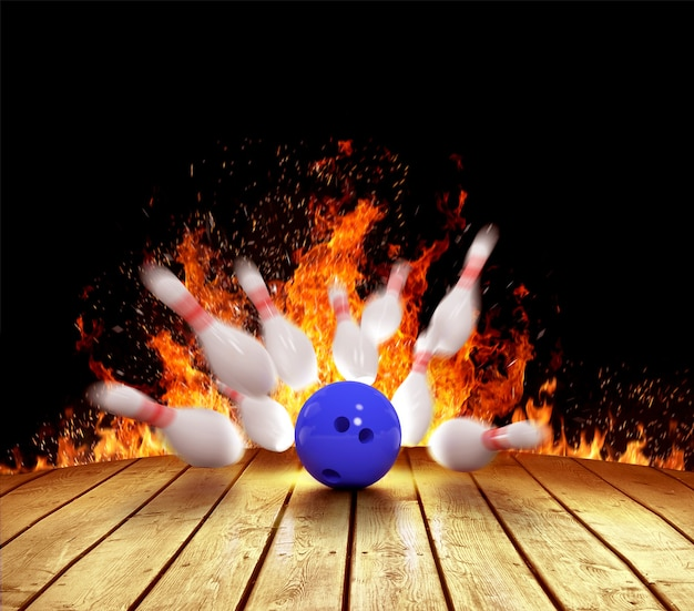 Ilustracja rozłożonych kręgli w ogniu i kuli do kręgli na drewnianej podłodze