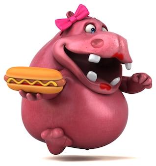 Ilustracja różowy hipopotam