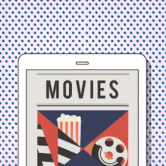 Ilustracja rozrywki multimedialnej kina na cyfrowym tablecie