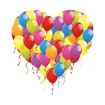 Ilustracja serca wykonane z kolorowych balonów na białym tle