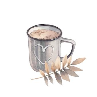 Ilustracja sezon akwarela. przytulny odosobniony obiekt: filiżanka kakaowa i jesienne liście