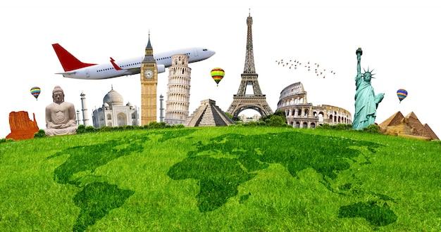 Ilustracja sławny zabytek na zielonej trawie