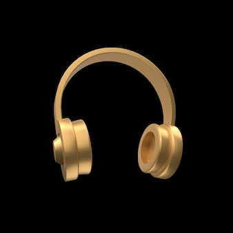 Ilustracja słuchawki 3d na białym tle. złota ilustracja słuchawek 3d