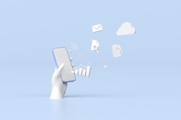 Ilustracja smartfona z wykresem obrotu giełdowego, rosnącym wykresem strategii, przetwarzaniem w chmurze. renderowania 3d.