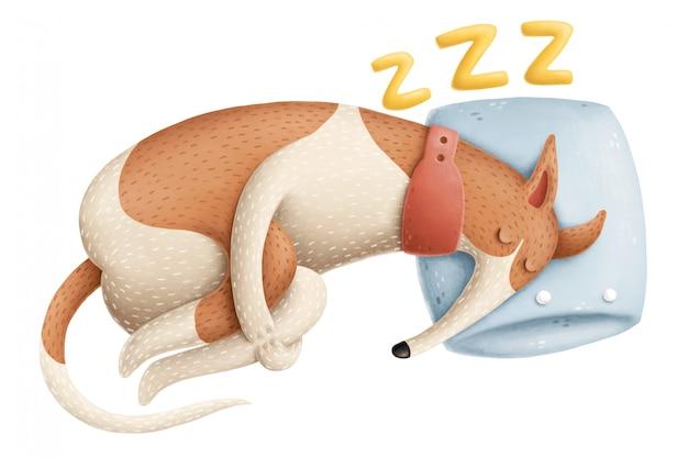 Ilustracja śpiącego psa