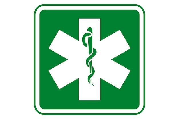 Ilustracja symbolu zdrowia i farmacji z zielonym tłem