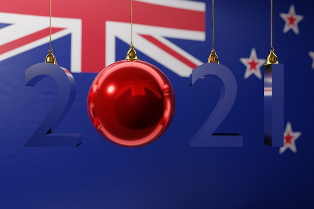Ilustracja szczęśliwego nowego roku na tle flagi narodowej nowej zelandii
