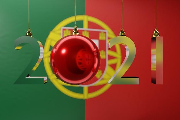 Ilustracja szczęśliwego nowego roku na tle flagi narodowej portugalii